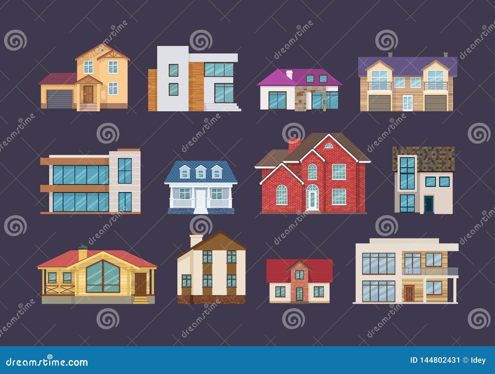 Fije de las casas de campo coloridas, caba?as, mansiones del d?a de fiesta, hoteles, casa de hu?spedes