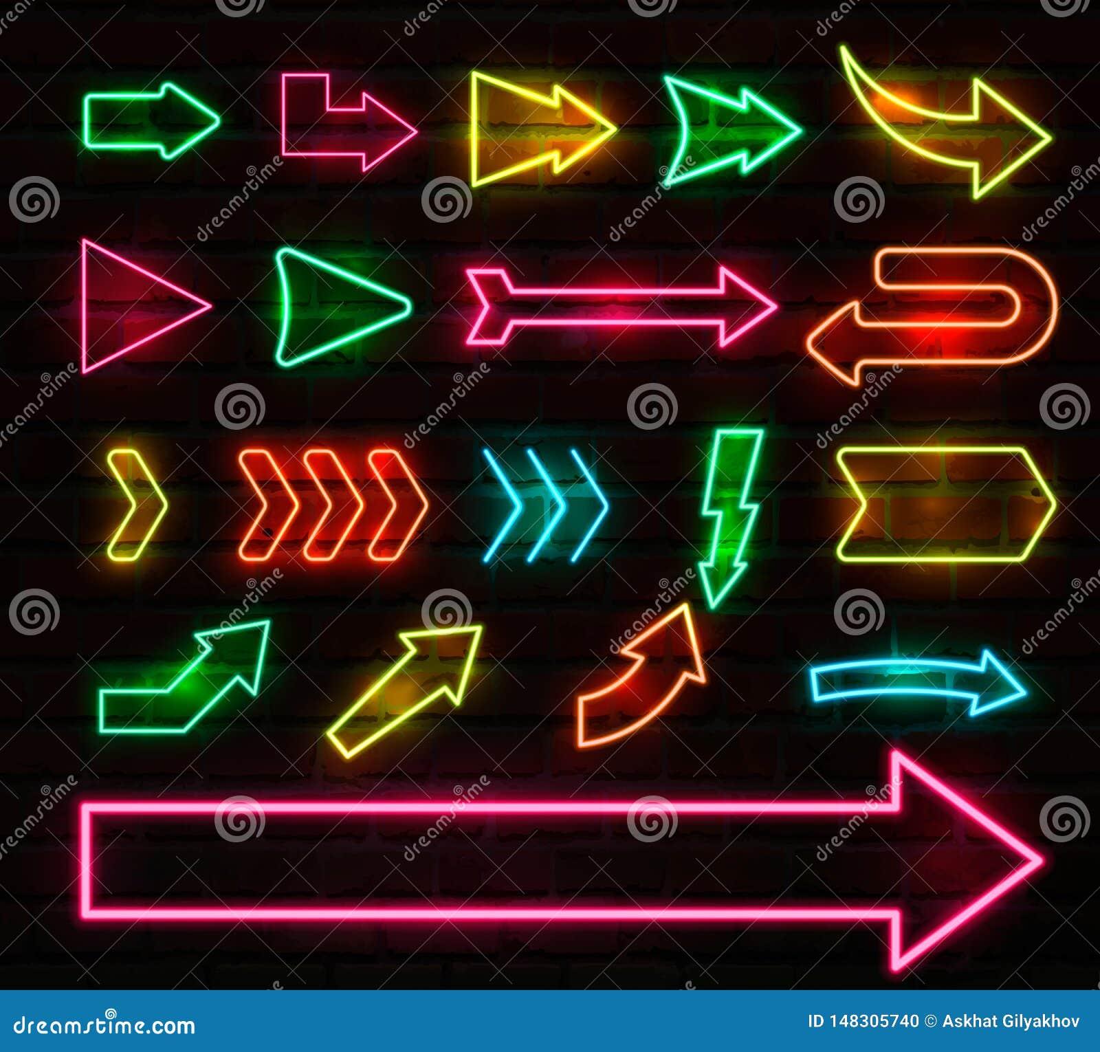 Fije de las flechas y de los indicadores de neón coloridos, ejemplo del vector