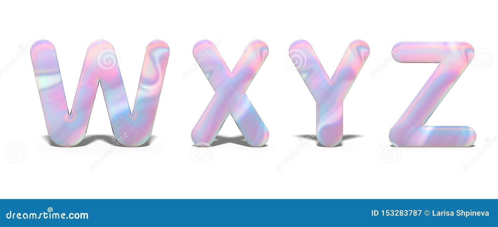 Fije de las mayúsculas W, X, Y, Z en el diseño olográfico brillante, alfabeto de neón brillante