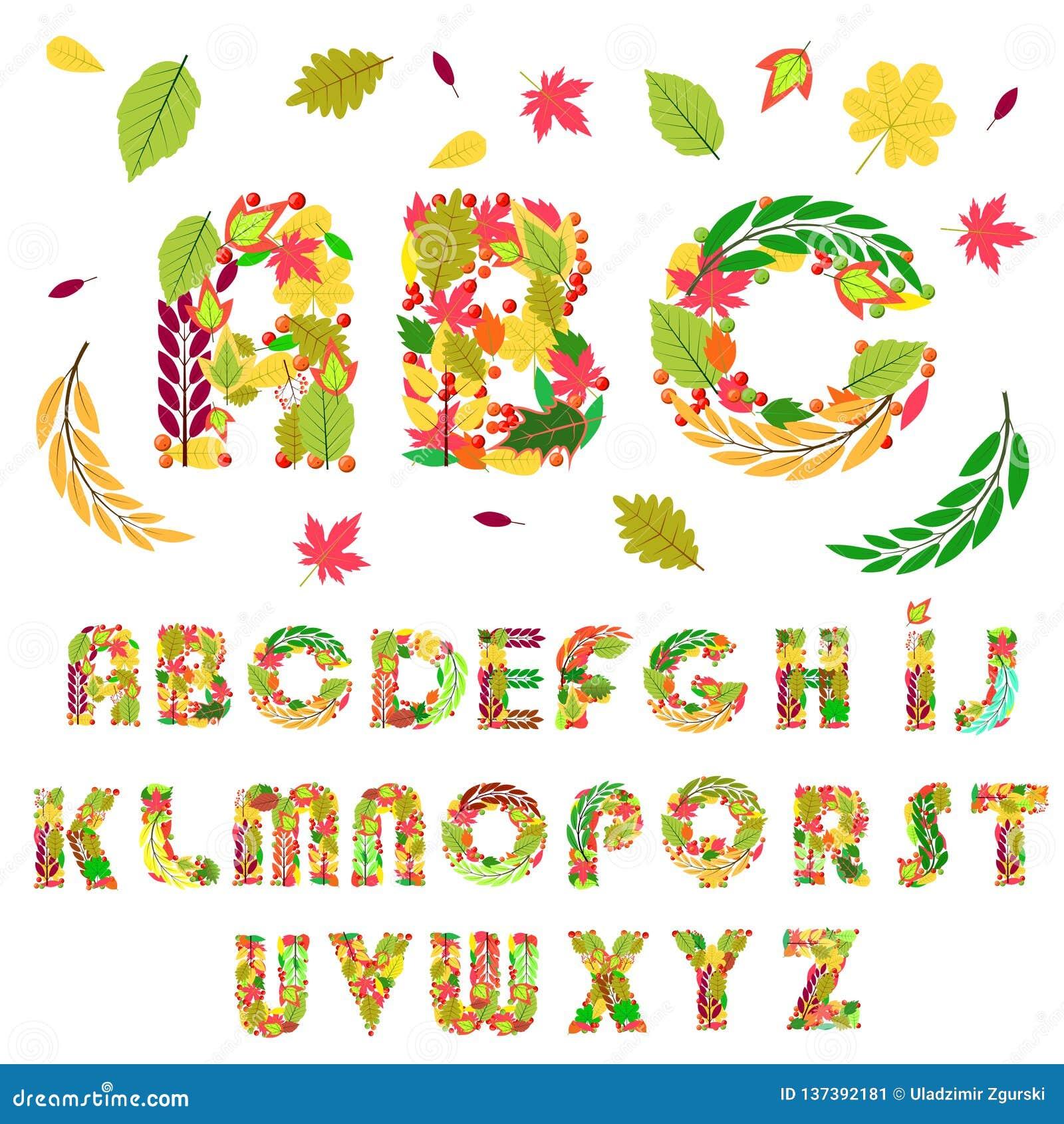 Fije de letras florales del alfabeto de los elementos, hecho con las hojas y las bayas