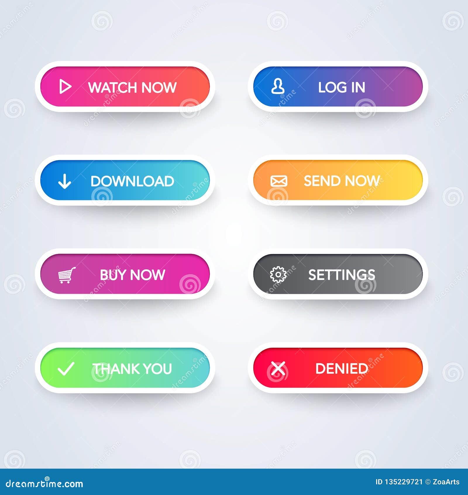 Fije de los botones materiales modernos coloridos del estilo en el fondo blanco Diversa línea plana colección de los colores y de