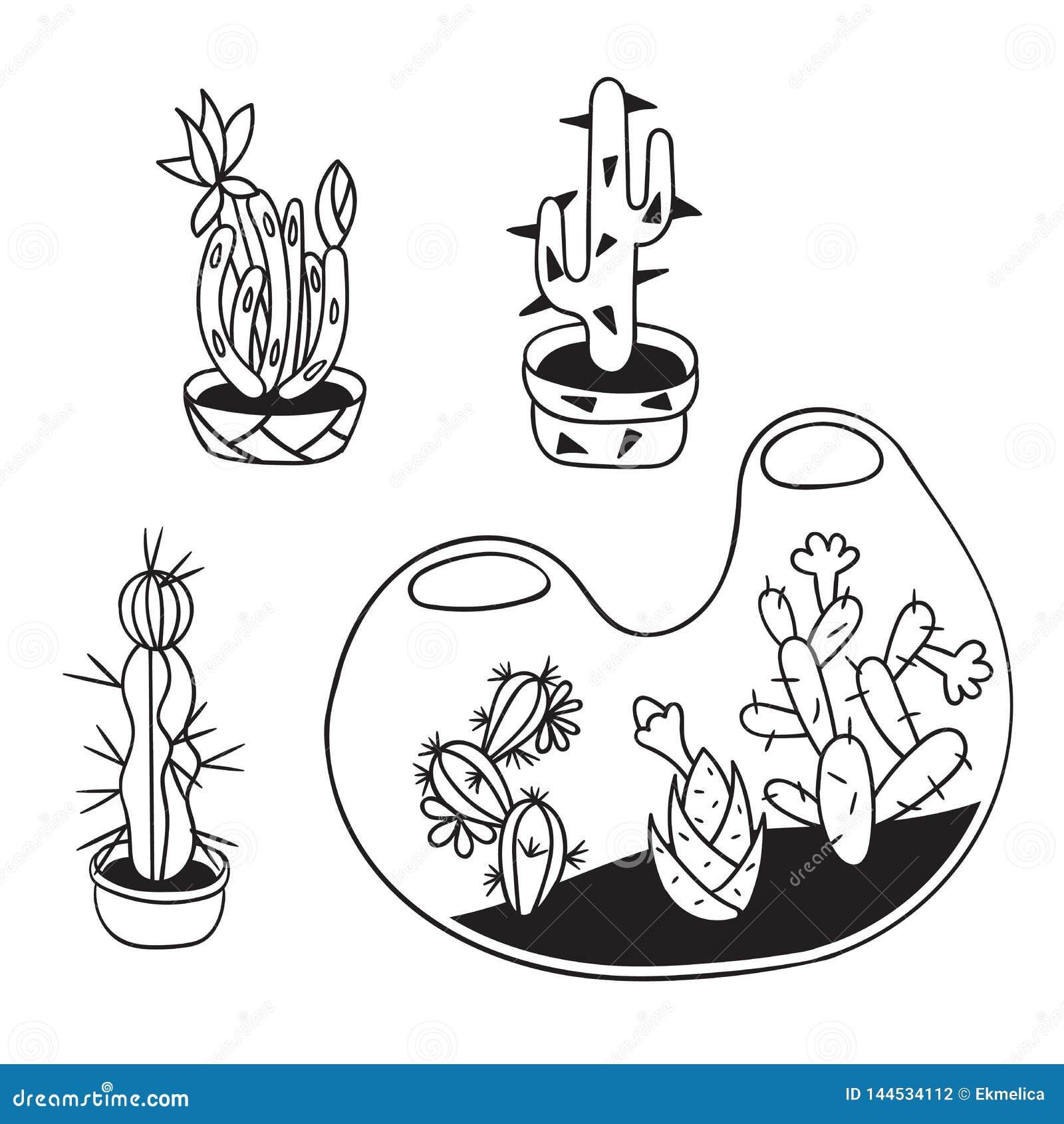 Fije De Los Cactus Para Los Libros De Colorear Ilustración