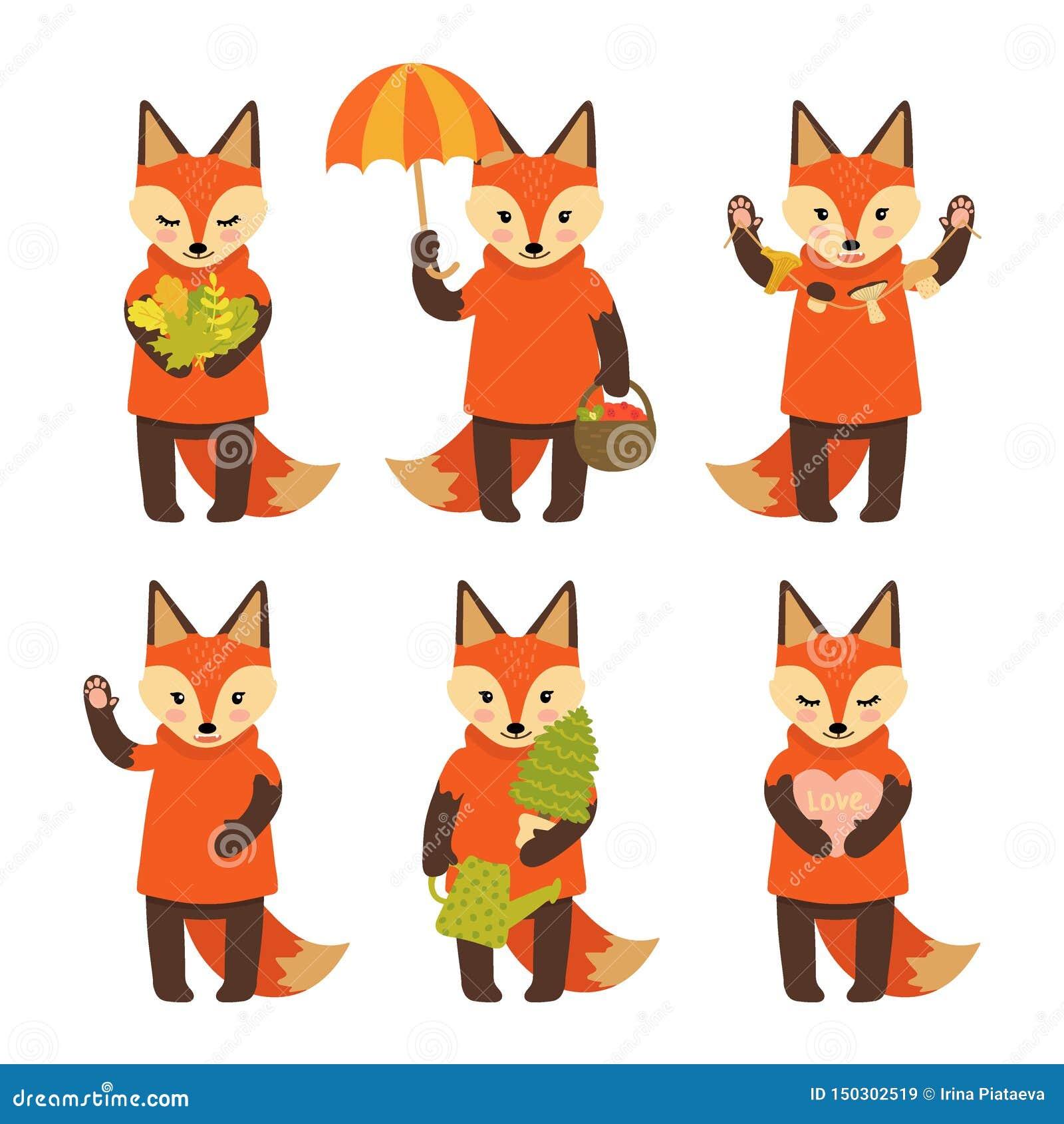 Fije de los caracteres lindos del zorro aislados en el fondo blanco Colección de caracteres del otoño Ejemplo del vector en estil