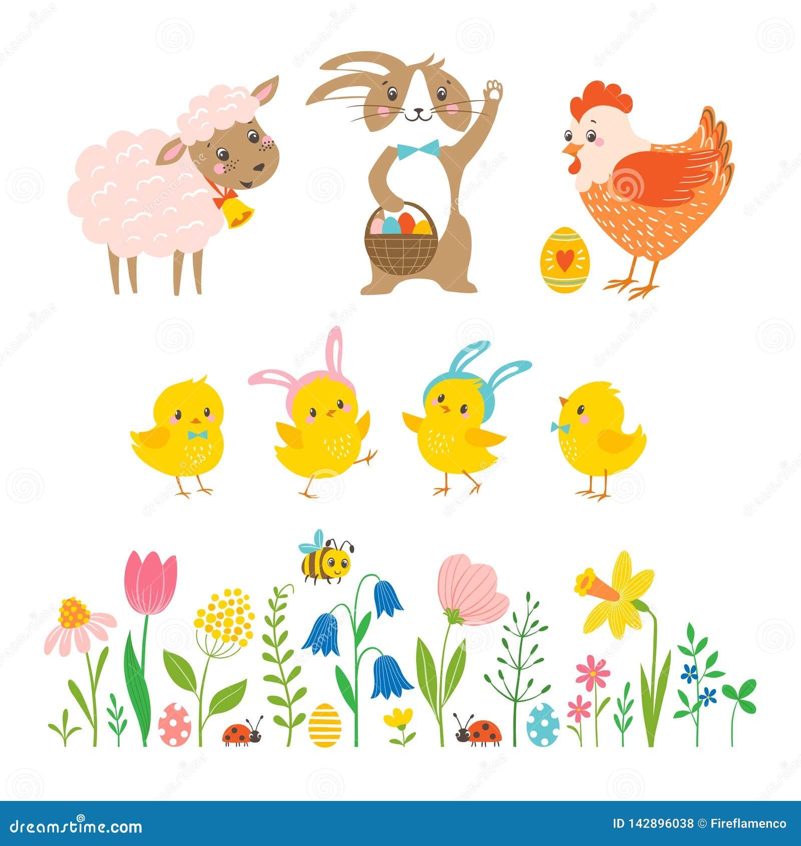 Fije de los caracteres de Pascua y de los elementos lindos del diseño