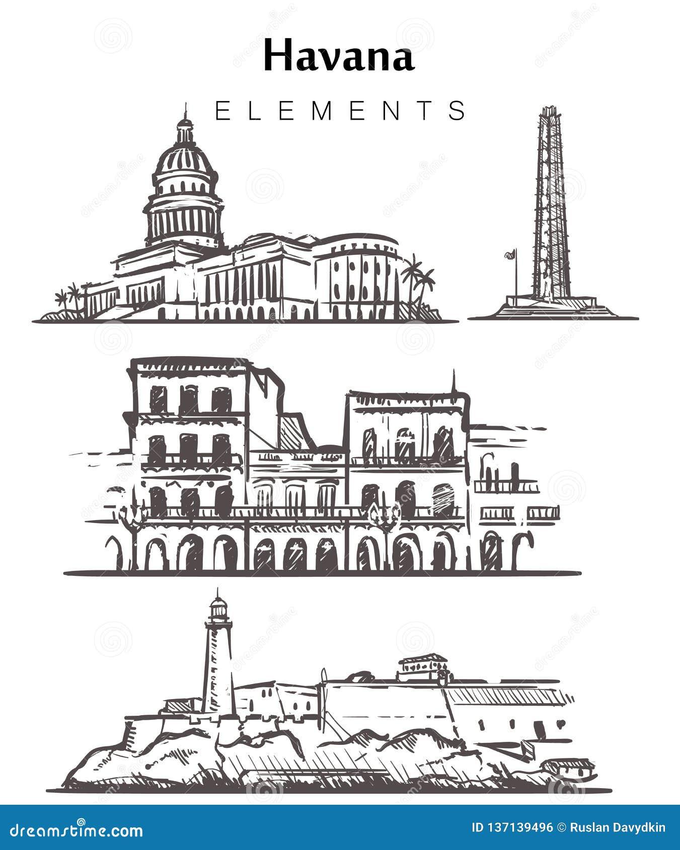 Fije de los edificios a mano de La Habana Ejemplo del vector del bosquejo de los elementos de La Habana