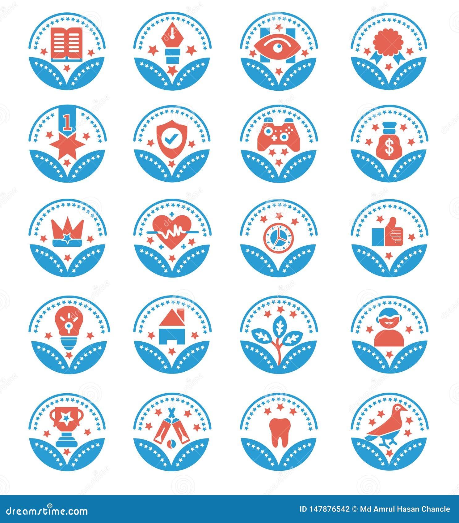 Fije de los iconos del vector de los premios - muestra del vector