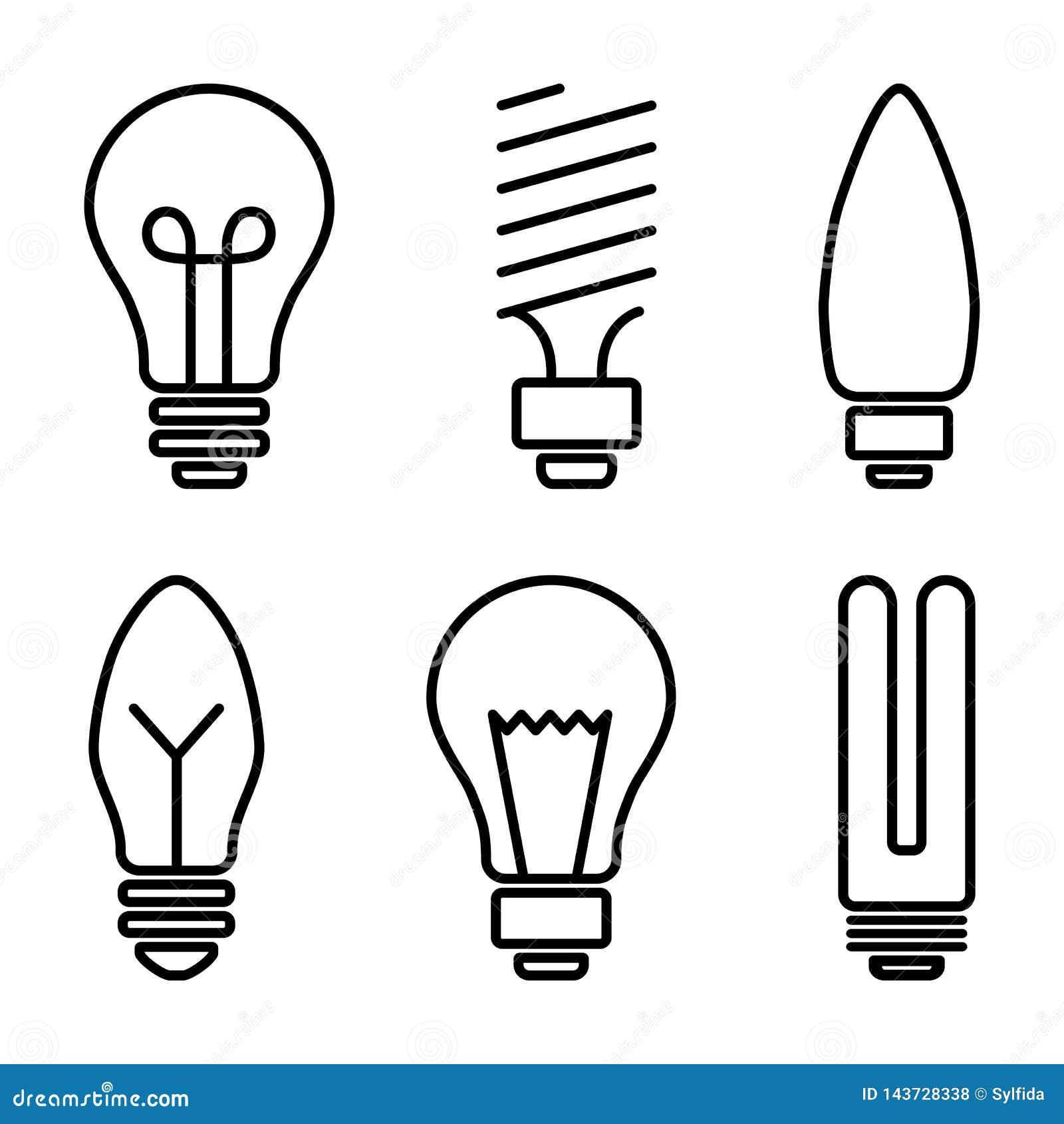 Fije de los iconos de la bombilla, diversa lámpara Ilustración del vector