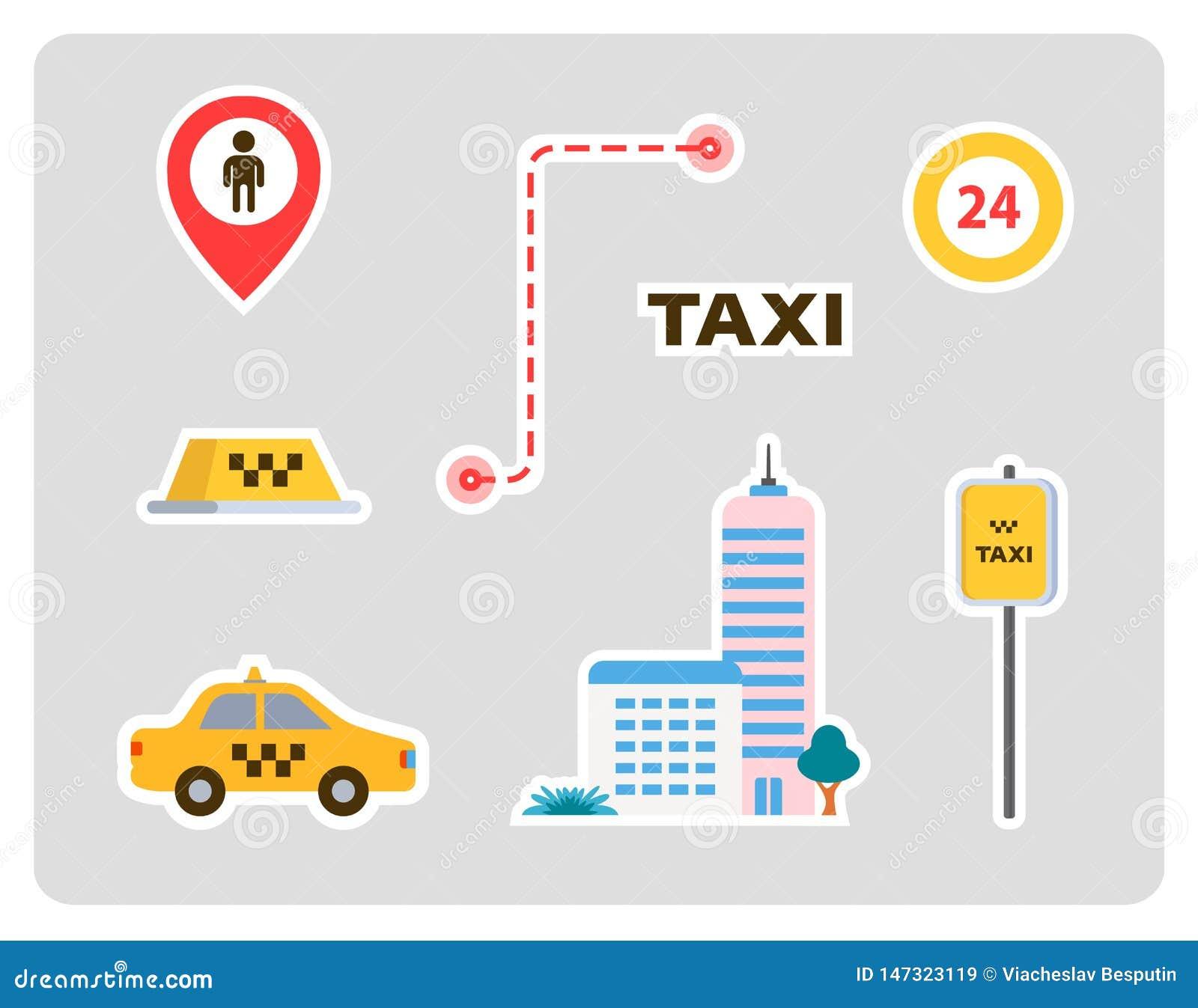 Fije de los iconos para un taxi coche, hogar, muestras, etiquetas con los movimientos Dise?o plano