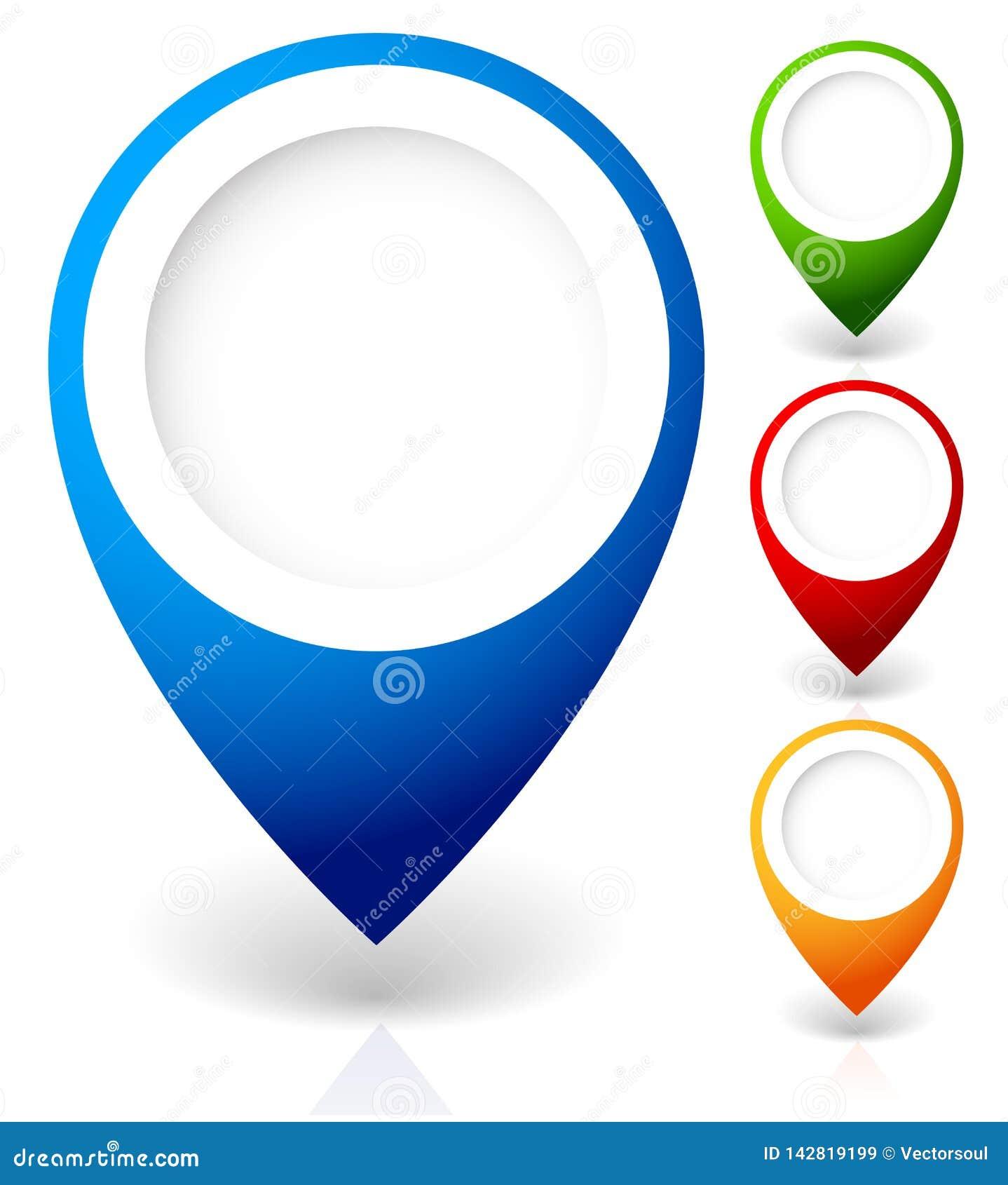 Fije de los marcadores del mapa del vector, con diversos colores
