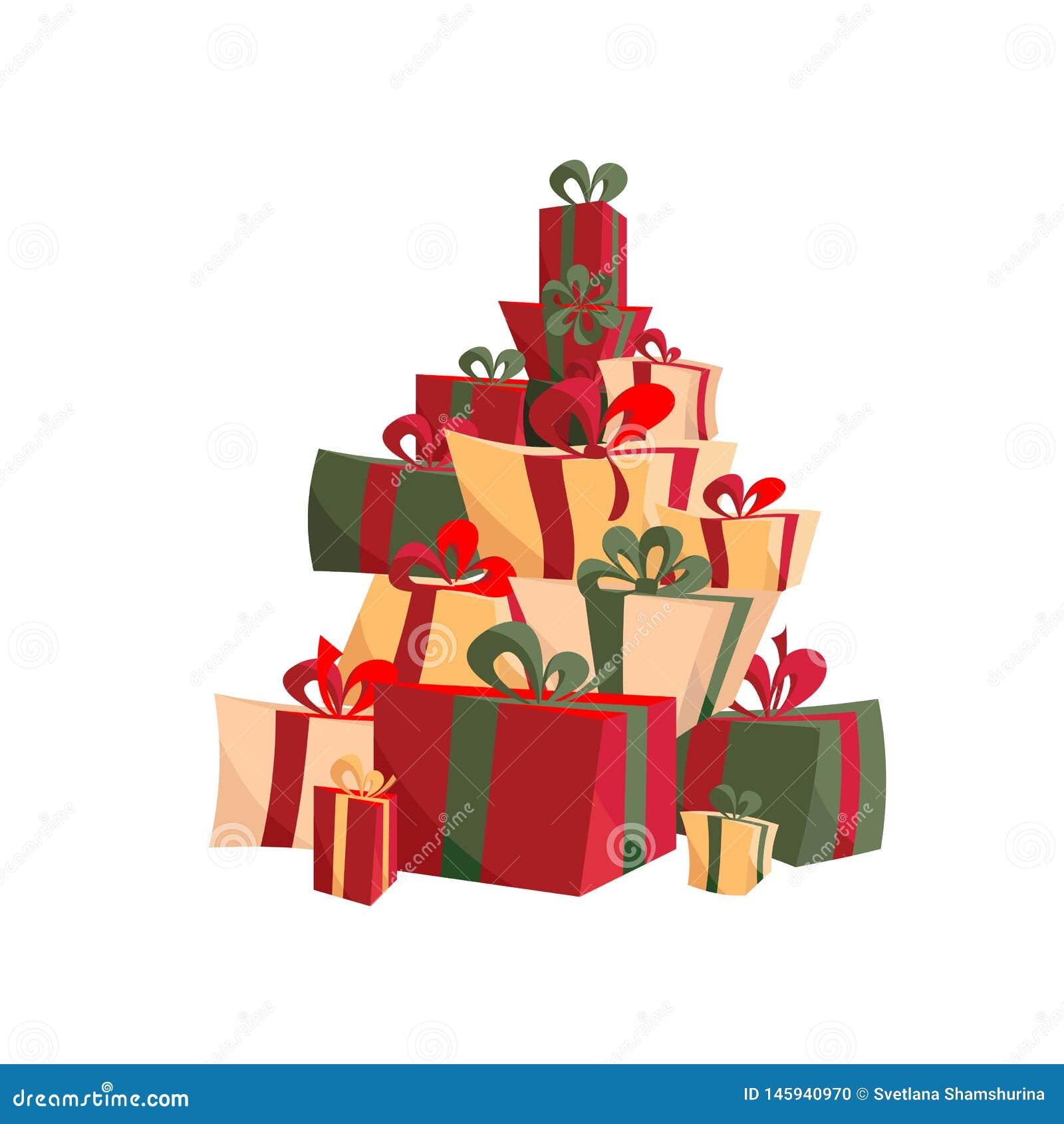 Fije de los regalos de la Navidad con las cintas, arcos en rojo y verde La pila de presentes en diversas cajas de la forma ató co