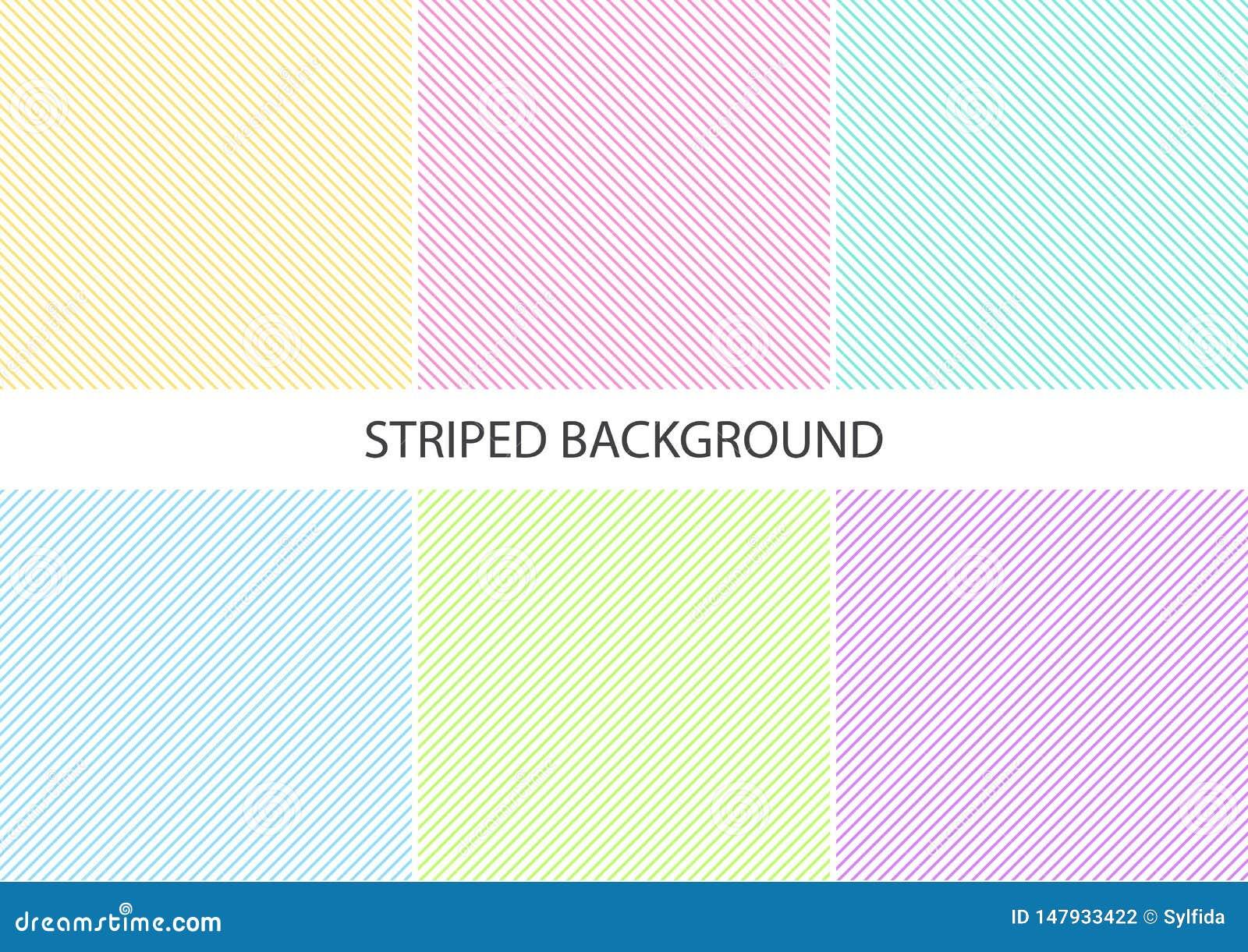 Fije de modelo rayado en colores pastel con las líneas continuas paralelas diagonales coloridas en el fondo blanco, colores en co