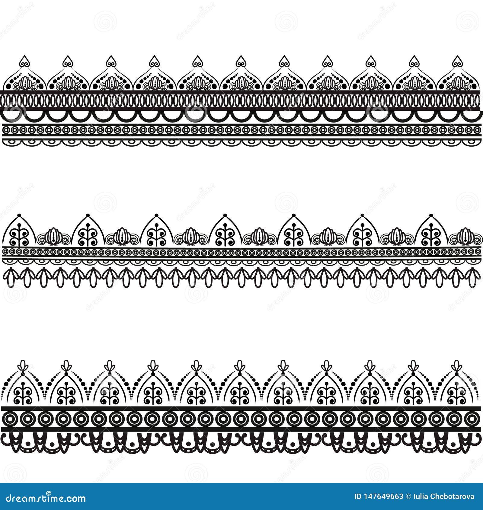 Fije de modelos decorativos del vector Mehndi