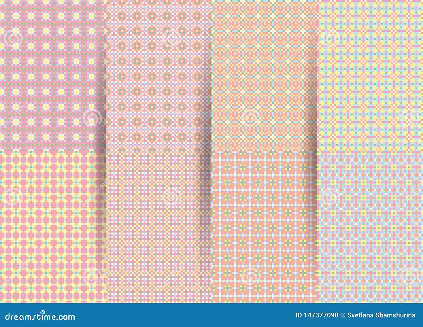 Fije de 6 modelos geom?tricos a cuadros incons?tiles abstractos Ackground geométrico del rosa del vector para las telas, impresio