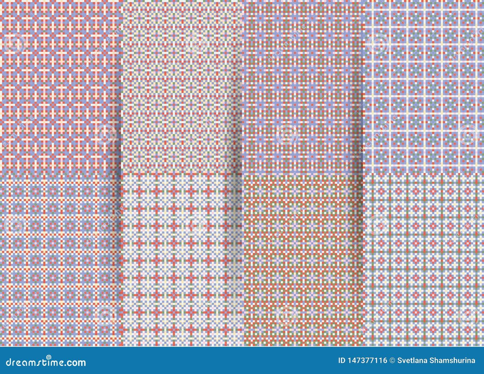 Fije de 6 modelos geom?tricos a cuadros incons?tiles abstractos Ackground geométrico de la lila del vector para las telas, impres