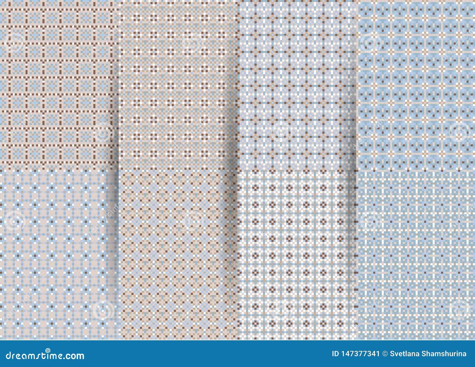 Fije de 6 modelos geom?tricos a cuadros incons?tiles abstractos Ackground geom?trico azul del vector para las telas, impresiones,