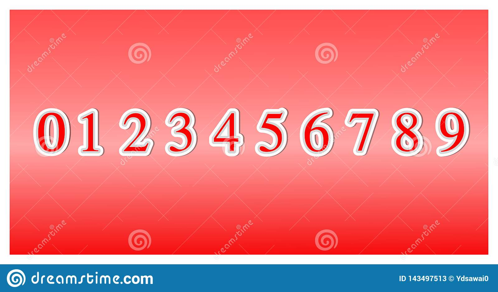 Fije de números de fuente a partir de la cero a nueve, elementos del diseño del icono 3d aislados en fondo rojo vector del ejempl