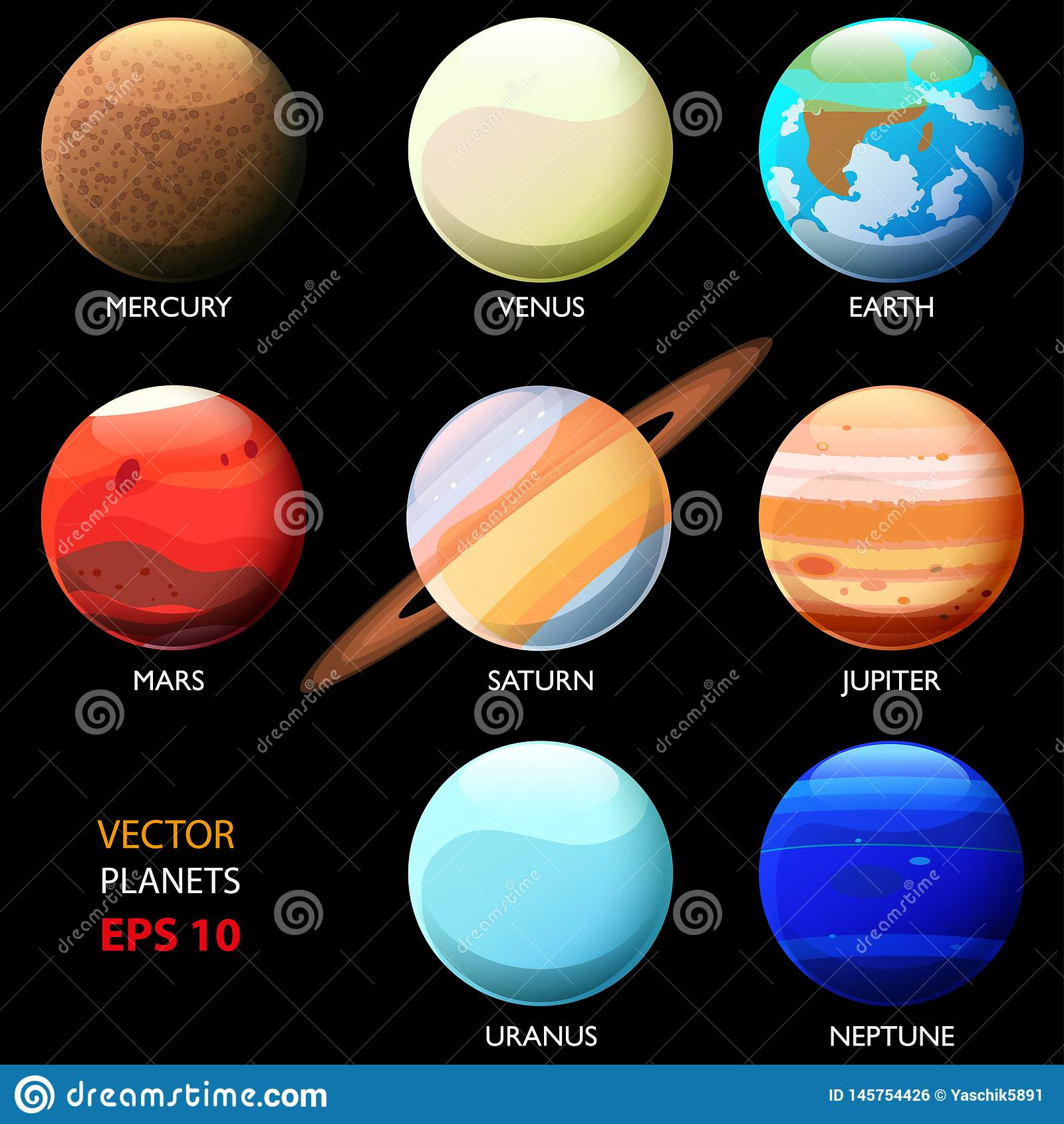 Fije De Ocho Planetas De La Sistema Solar Uranio Y Neptuno De Mercury Venus Earth Mars Jupiter Saturn Estilo De La Historieta Ilustración Del Vector Ilustración De Uranio Mundo 145754426