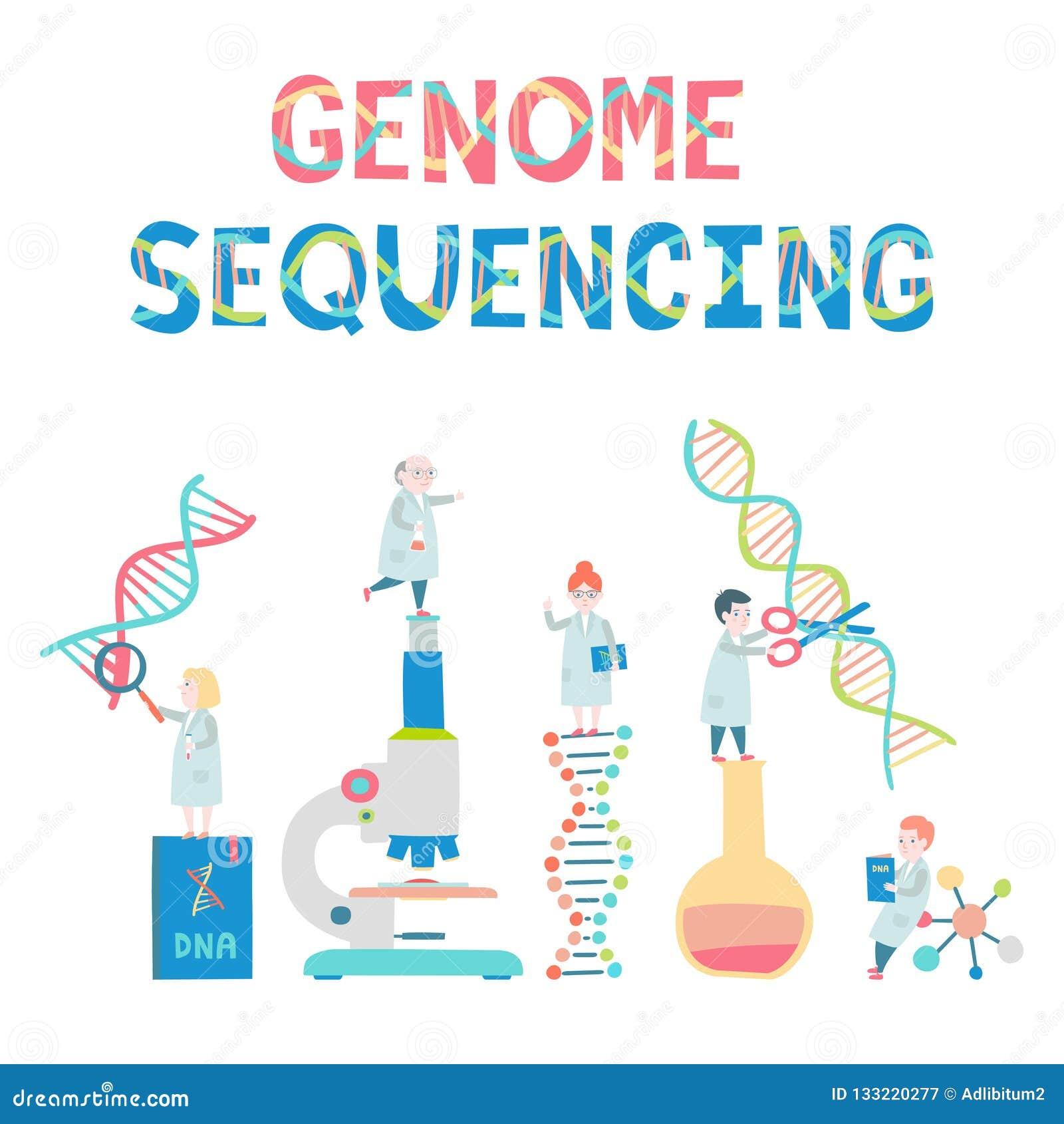 Fije de pequeños científicos Concepto sequensing del genoma