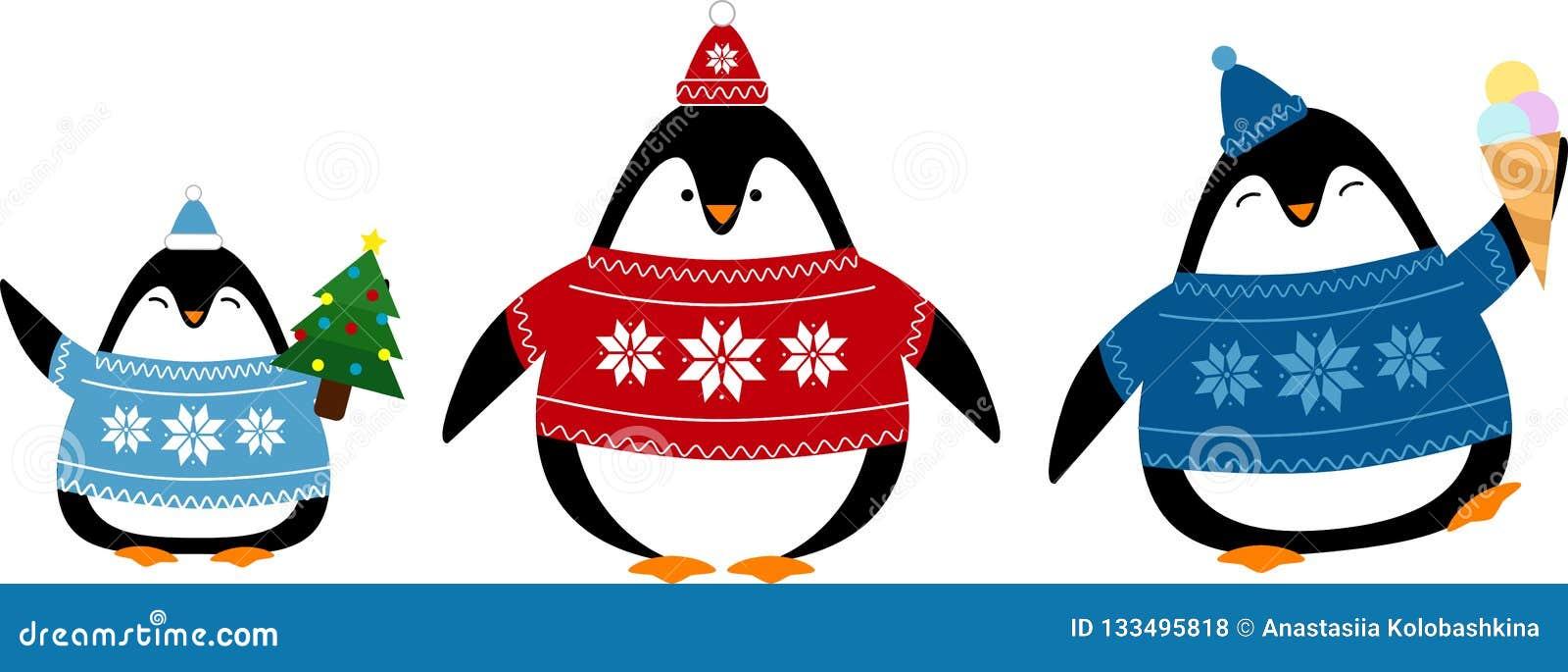 Fije de pingüinos lindos en suéteres y sombreros