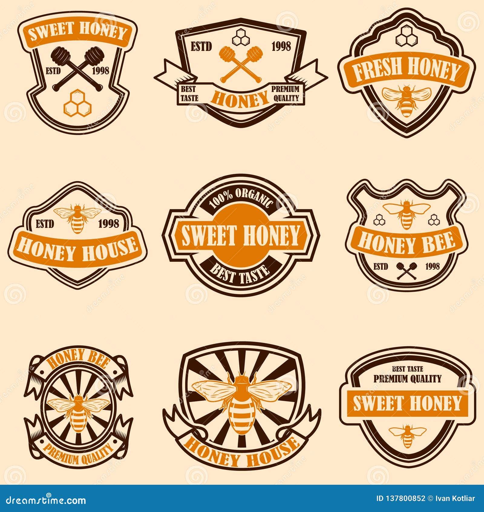 Fije de plantilla de las etiquetas de la miel del vintage Iconos de la abeja Diseñe el elemento para el logotipo, etiqueta, emble
