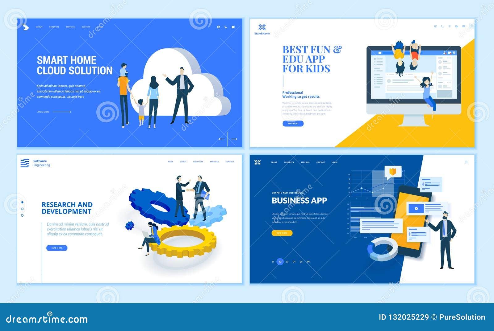 Fije de plantillas planas de la página web del negocio del diseño