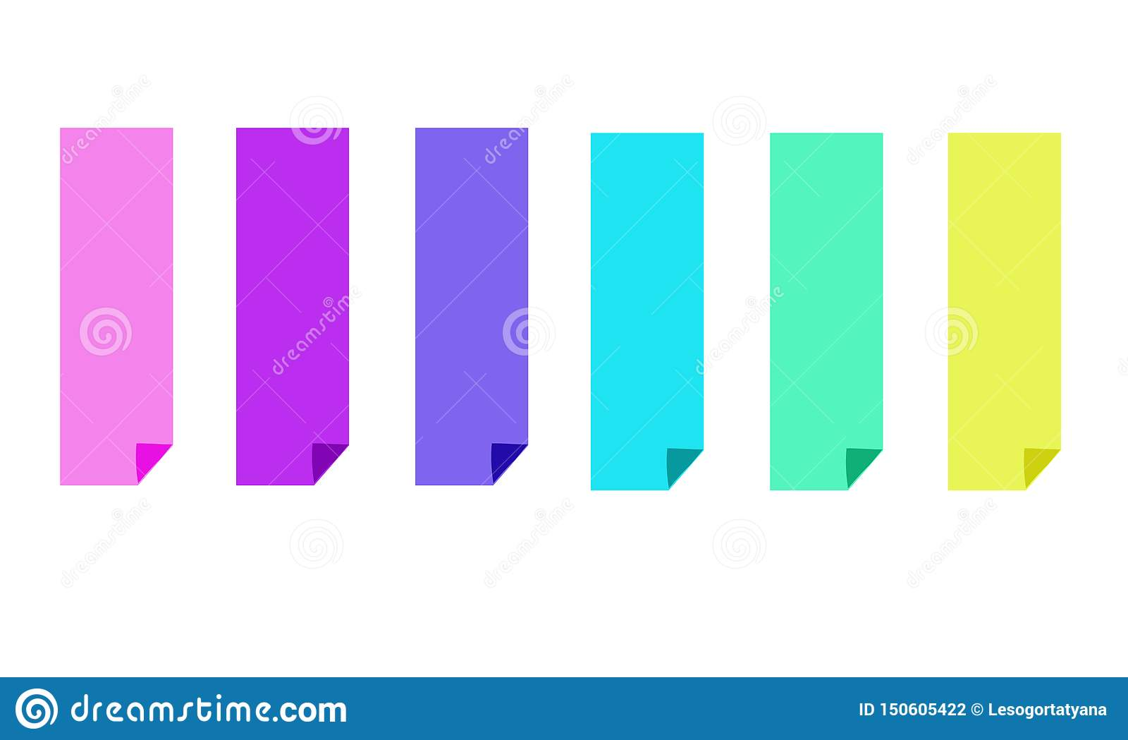 Fije de seis banderas brillantes coloridas