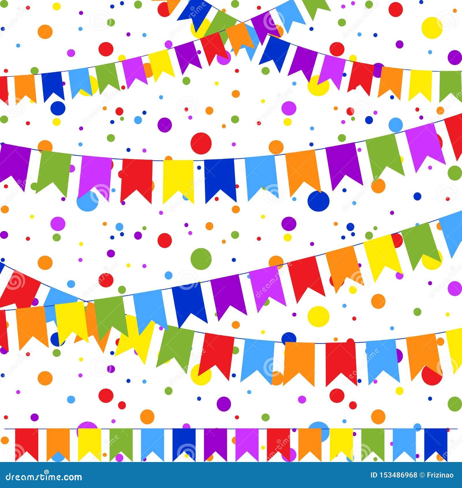 Fije de seis guirnaldas coloreadas planas aisladas bajo la forma de banderas en una cuerda En el fondo del confeti colorido Conve