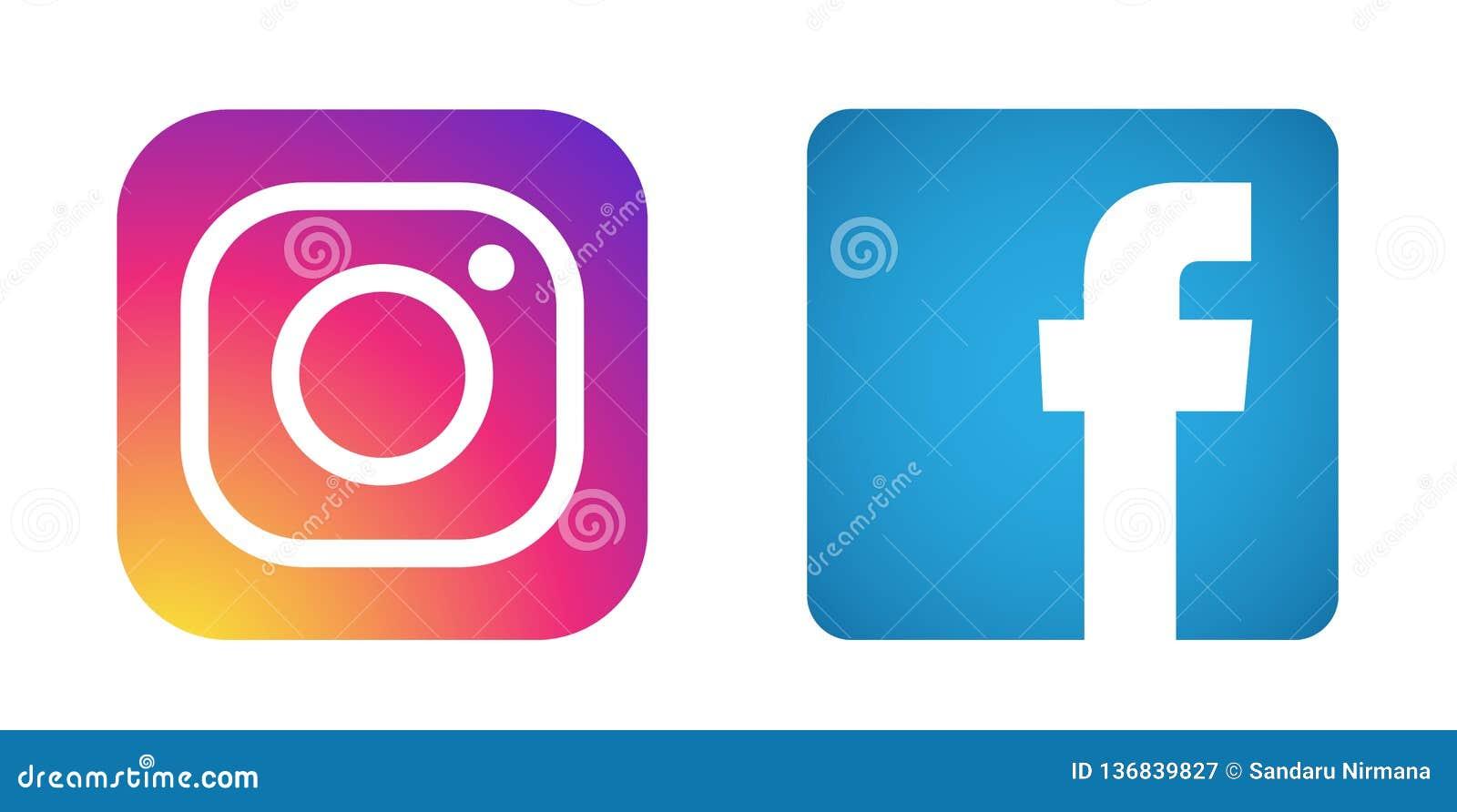 Fije de vector social popular del elemento de Instagram Facebook de los iconos de los logotipos de los medios en el fondo blanco