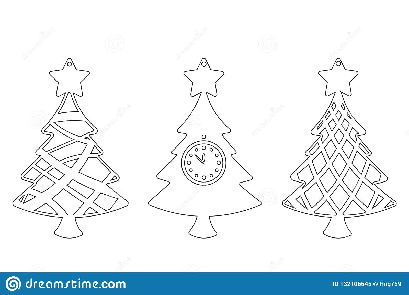 Fije del árbol de navidad moderno El juguete del Año Nuevo para el corte del laser Ilustración del vector