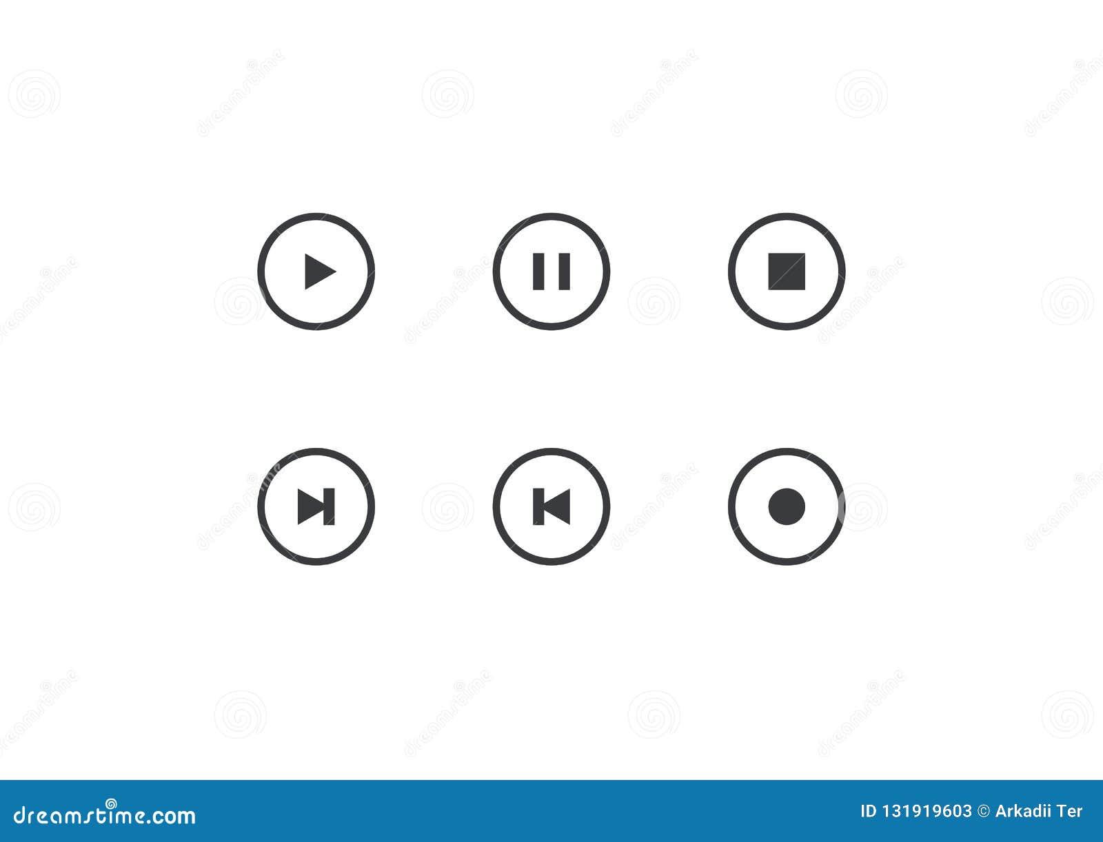Fije del botón del jugador del vector Elemento del esquema para el app móvil del diseño, la página web o el jugador de música Jue