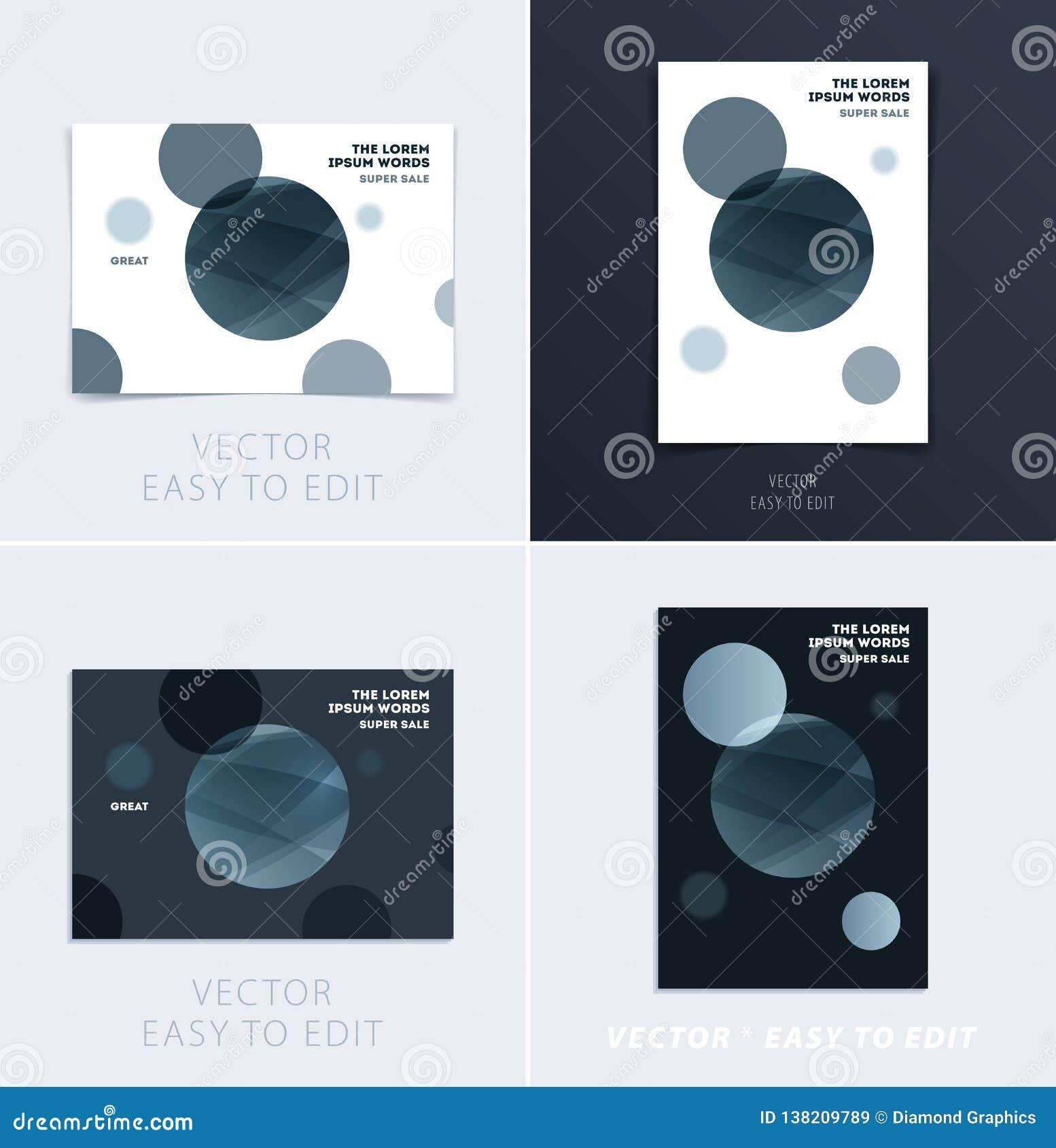 Fije del diseño de cubierta suave de la plantilla del folleto Extracto moderno colorido, informe anual con las formas para califi