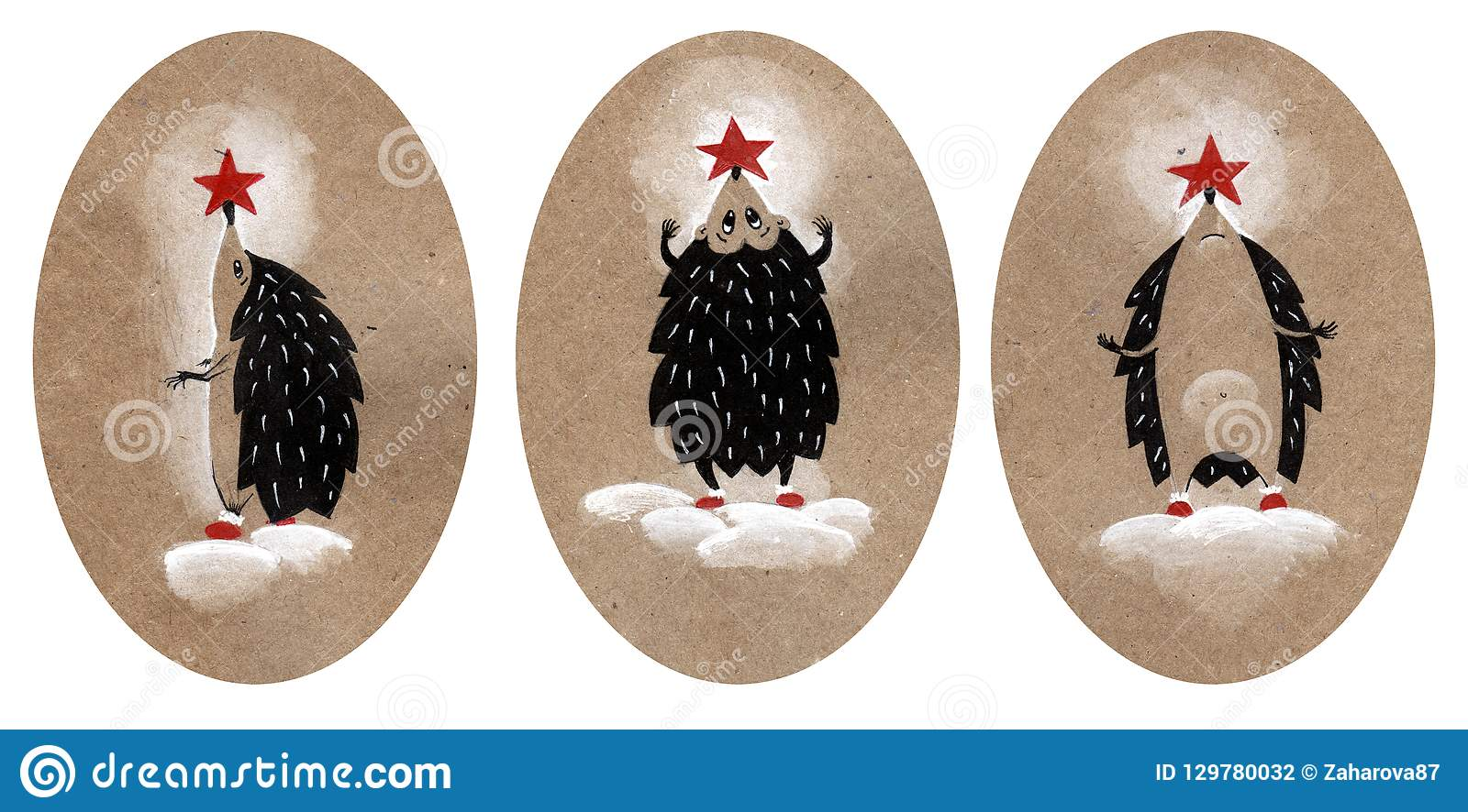 Fije del ejemplo de la Navidad tres, erizo vestido para arriba como un árbol de navidad Ejemplo dibujado mano en un papel del art