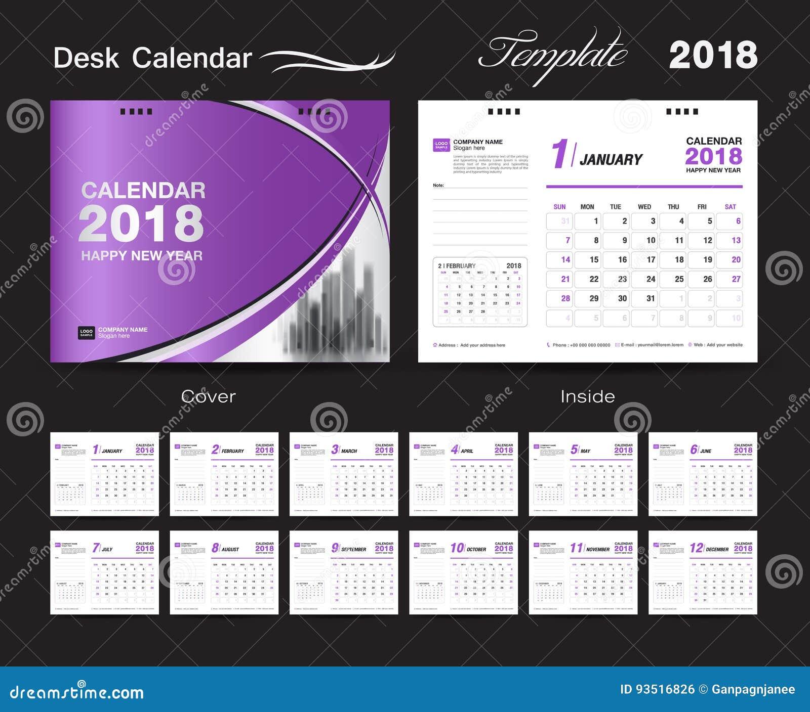 Fije el diseño 2018, cubierta púrpura de la plantilla del calendario de escritorio