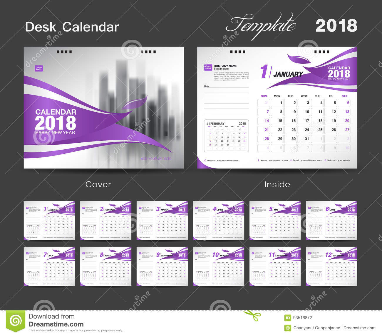 fije el diseño 2018 cubierta roja de la plantilla del calendario de