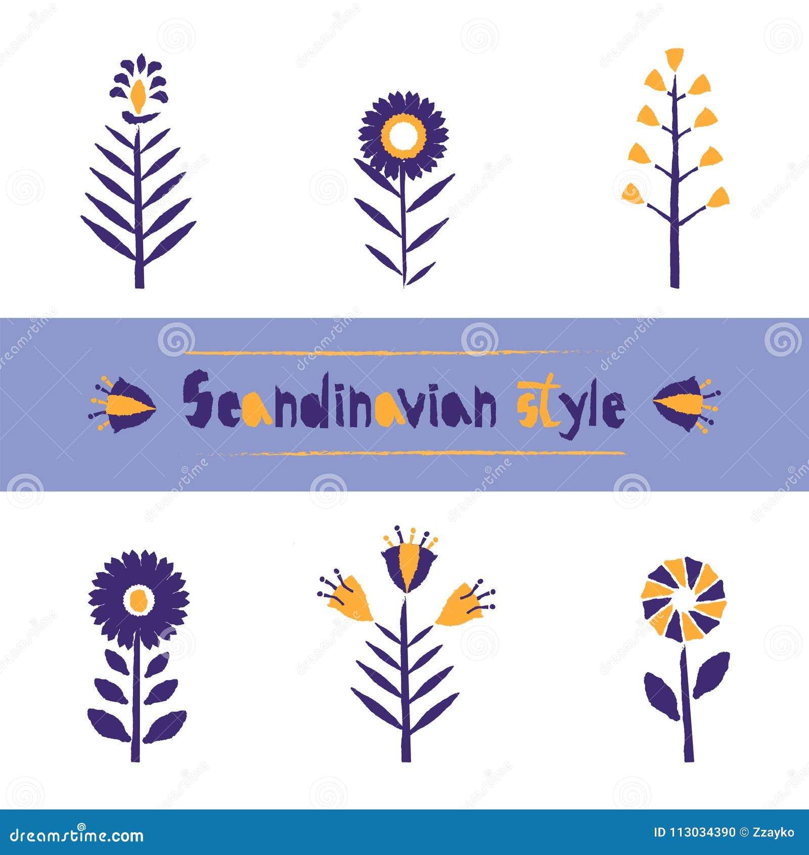 Fije el estampado de plores en el estilo escandinavo, stylization del borde de papel rasgado Plantilla hermosa para el diseño de