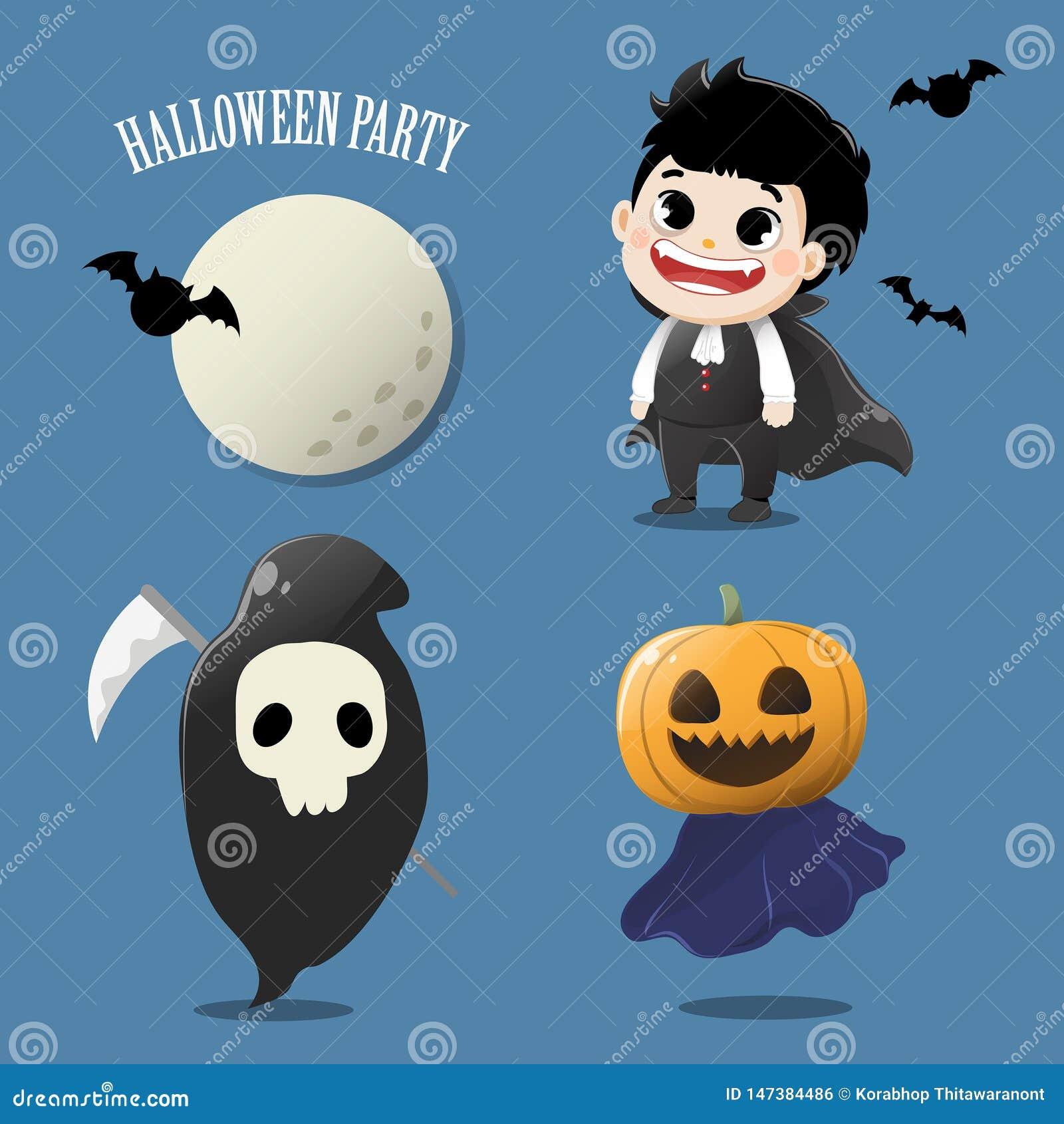 Fije el fantasma lindo en la noche de Halloween