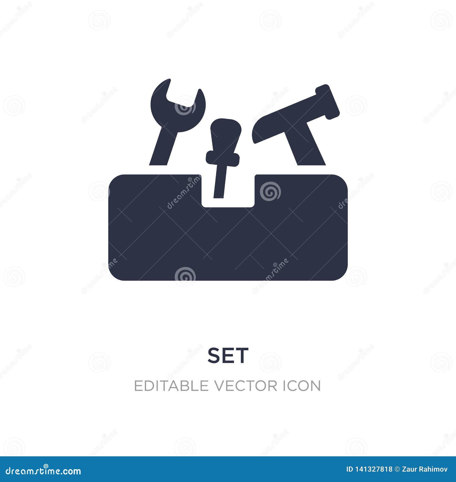 Fije el icono en el fondo blanco Ejemplo simple del elemento del concepto de las herramientas y de los utensilios