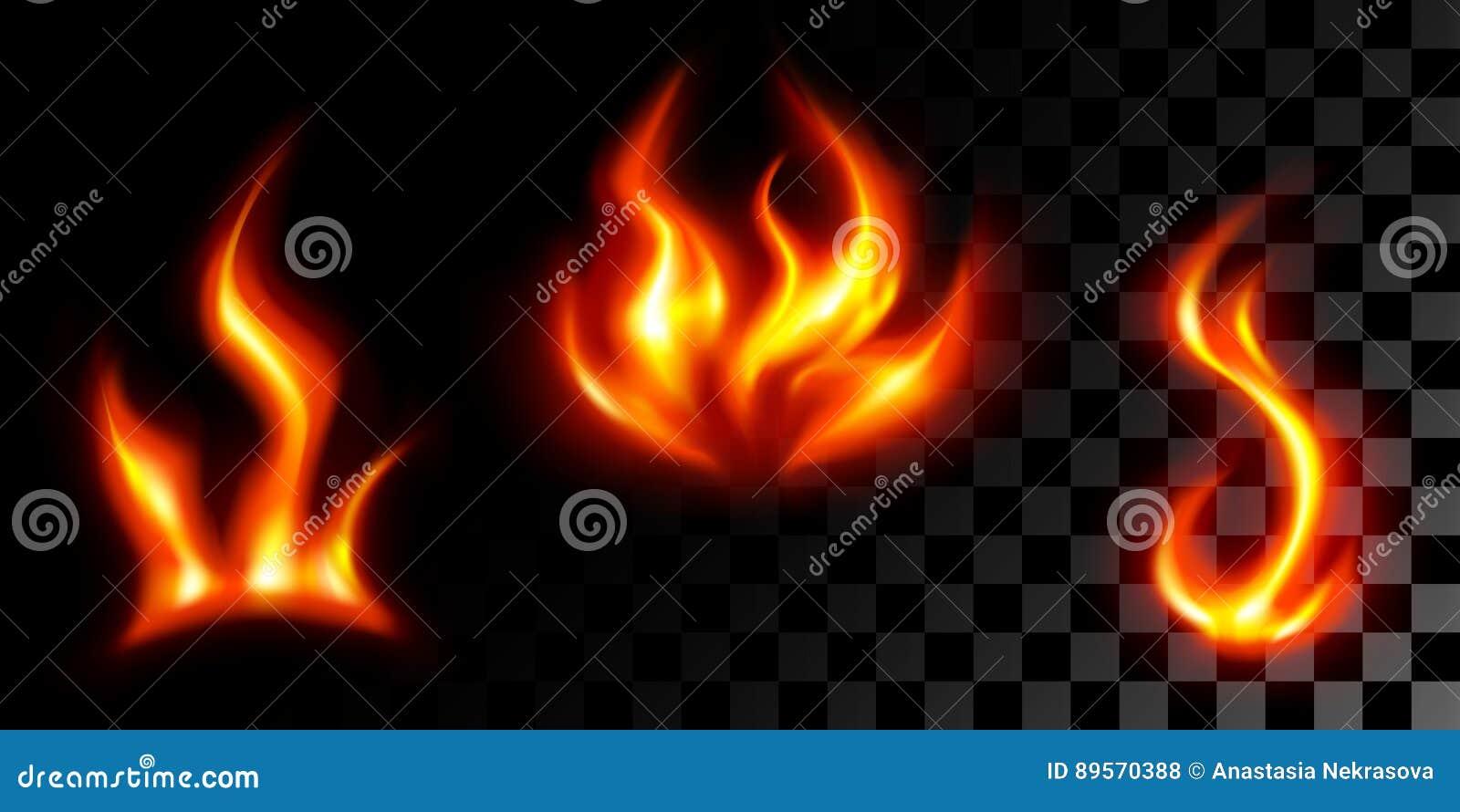 Fije la llama de tres fuegos en transparente