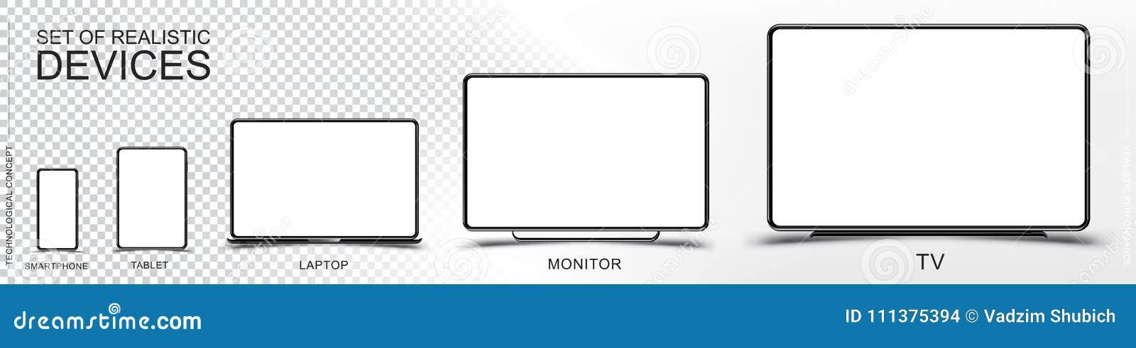 Fije la maqueta de dispositivos realistas Smartphone, tableta, ordenador portátil, monitor y TV en un fondo transparente y blanco
