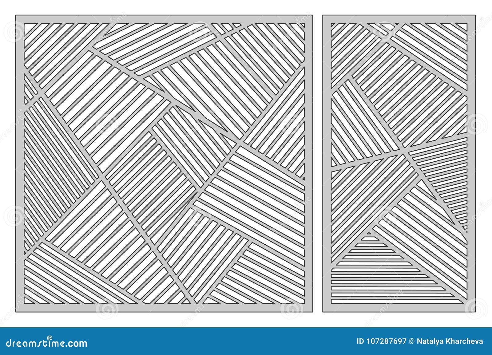 Fije La Plantilla Para Cortar Modelo Linear Abstracto Corte Del ...