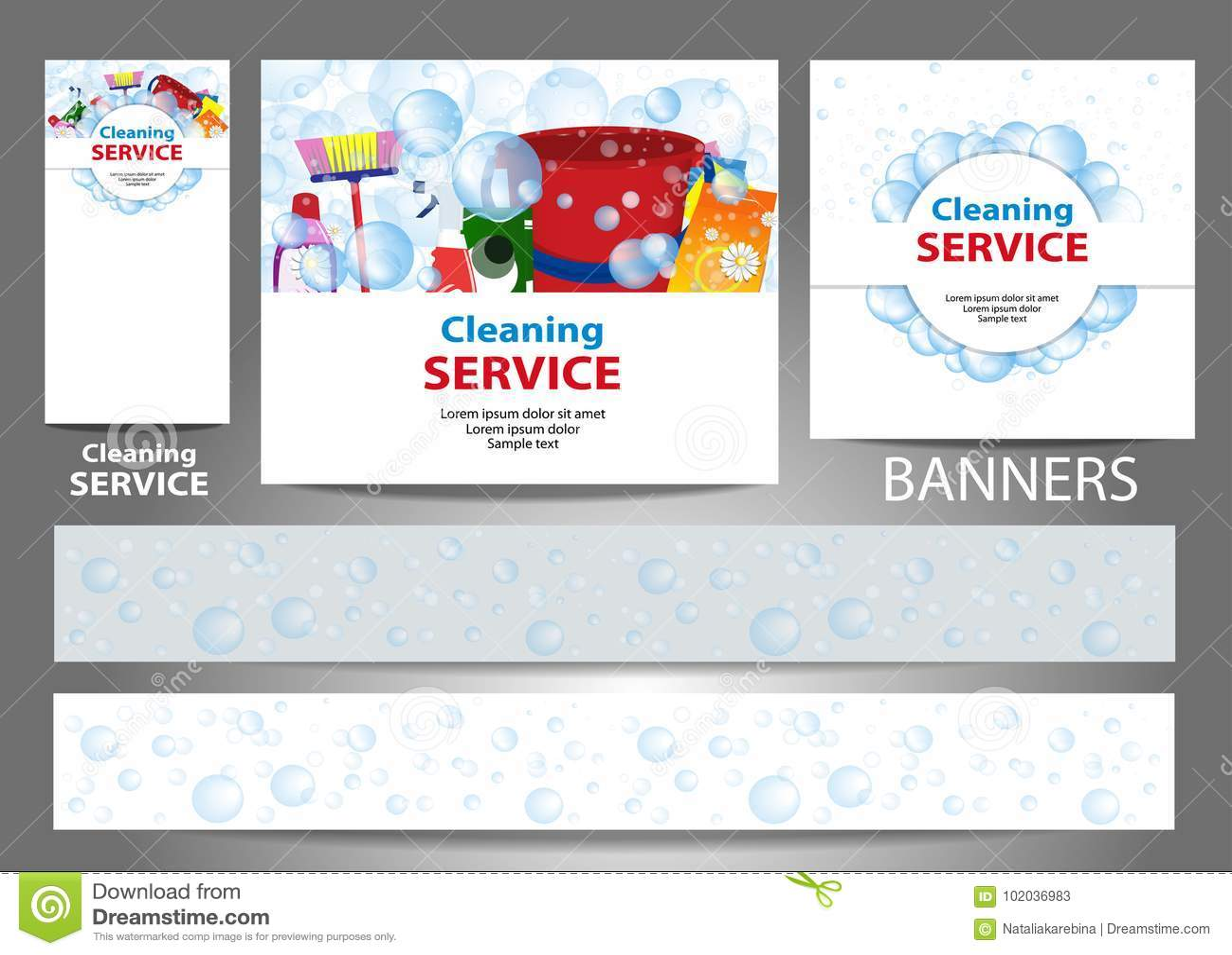 Fije Las Banderas Para El Sitio Web Servicio De La Limpieza Tamaño ...