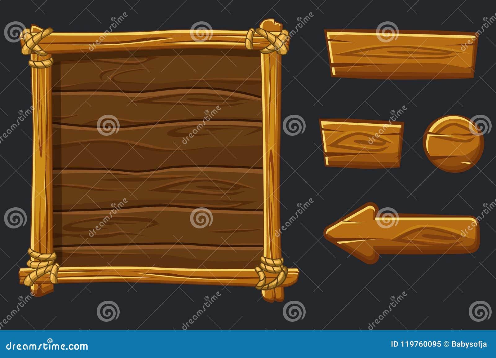 Fije los activos, el interfaz y los botones de madera de la historieta para el juego de Ui