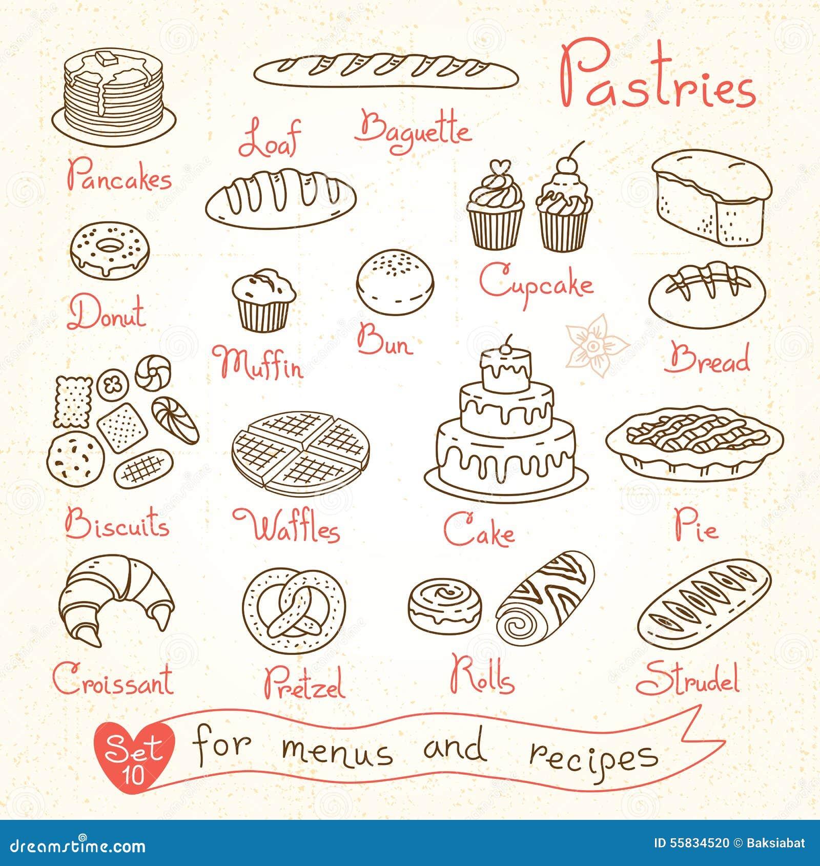 Fije los dibujos de pasteles y del pan para el diseño