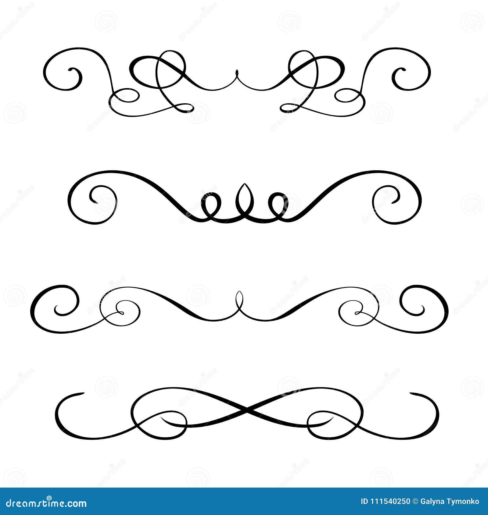 Fije los elementos dibujados mano de la caligrafía del flourish Ejemplo del vector en un fondo blanco
