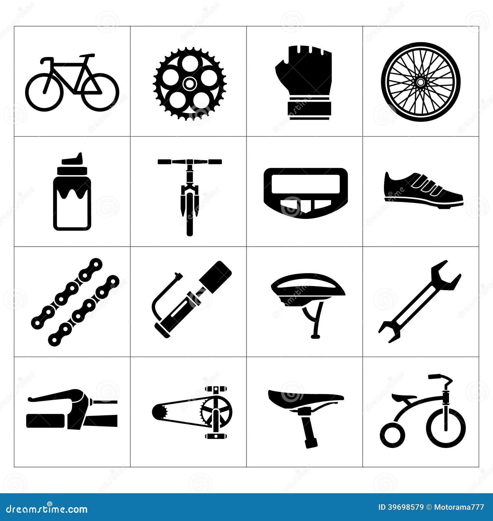 Fije los iconos de la bicicleta, biking, las piezas de la bici y el equipo