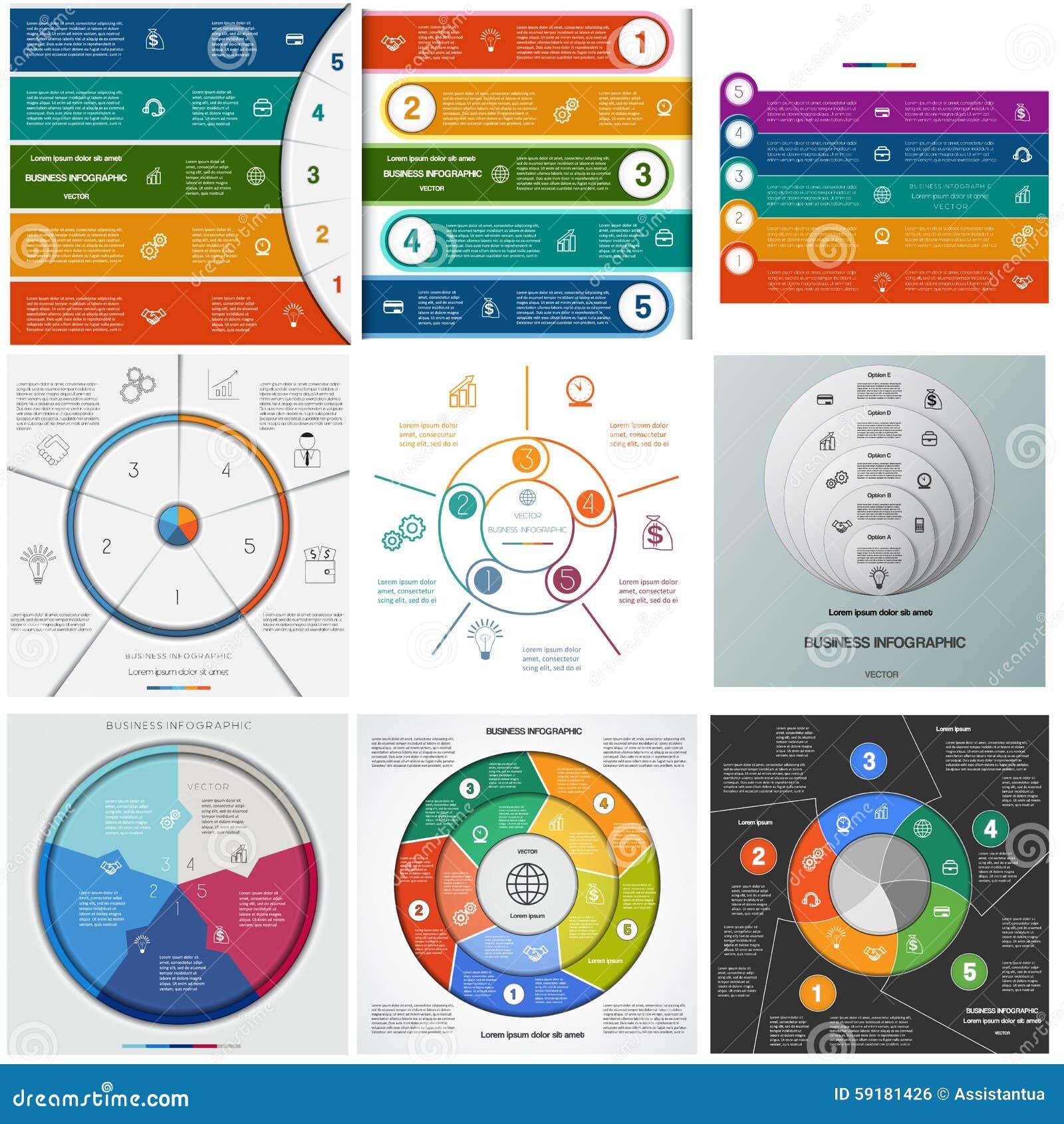 Fije los procesos cíclicos de Infographics de las plantillas en cinco posiciones