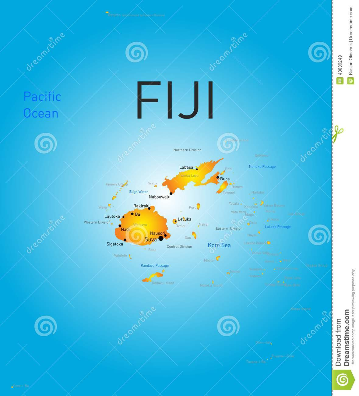 Fiji Country Stock Vector Image 43839249