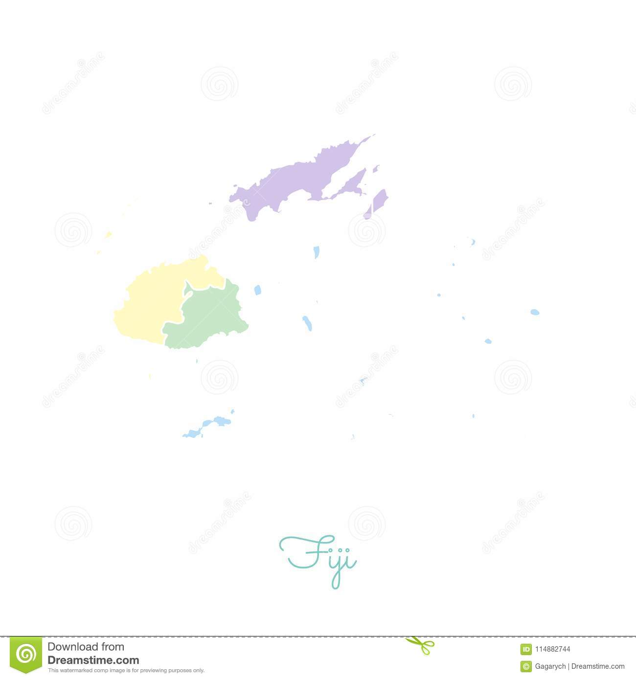 Fiji Region Map Fiji Region Map: Colorful With White Outline. Stock Vector