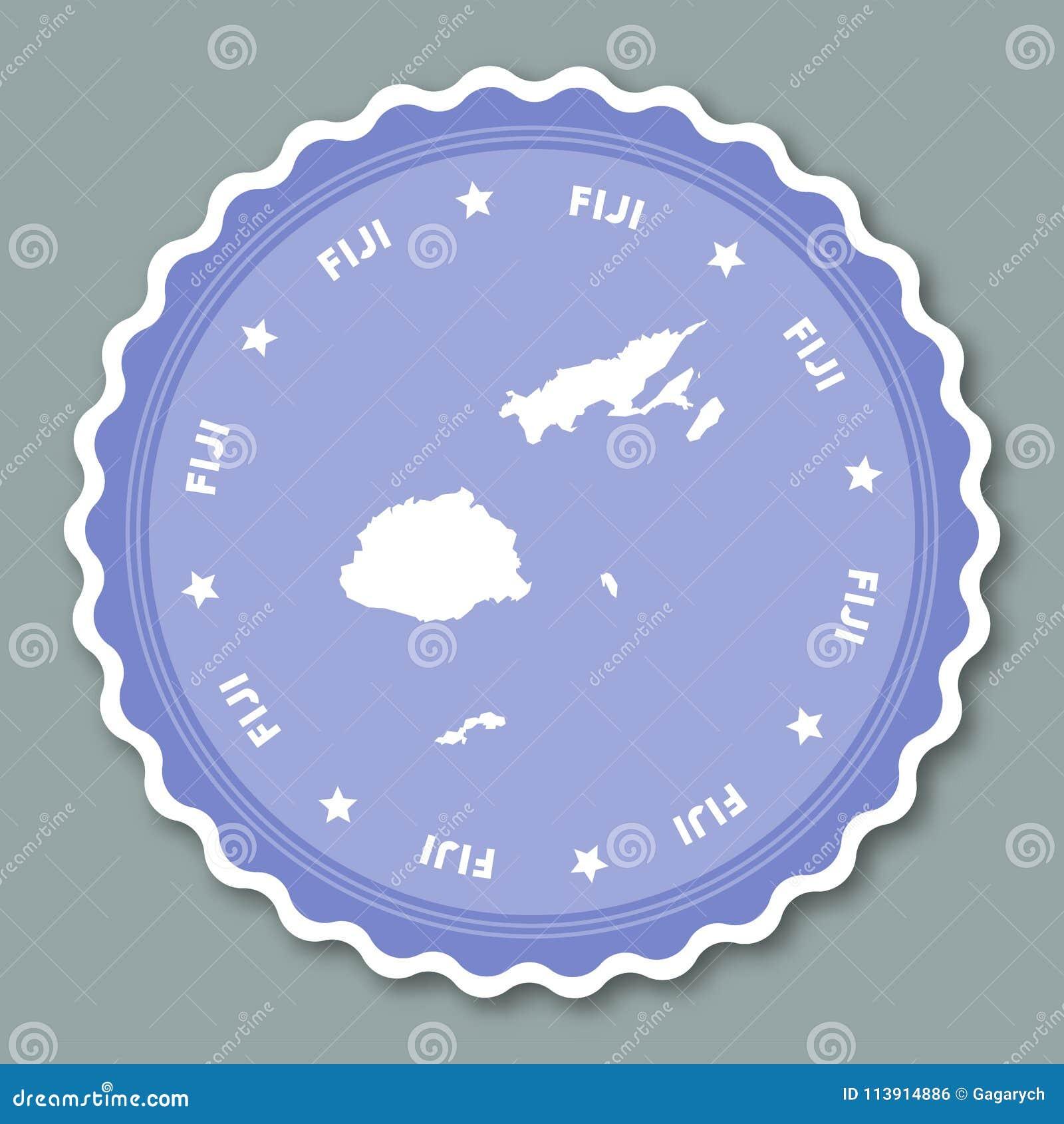 Fiji sticker flat design. stock vector. Illustration of ...
