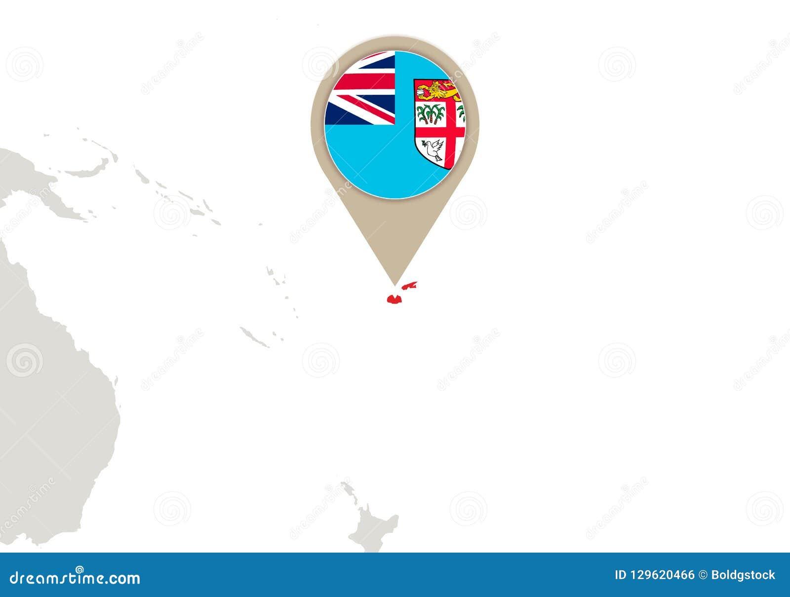 Fiji on World map stock vector. Illustration of international ...